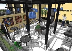 星巴克咖啡厅SU(草图大师)模型