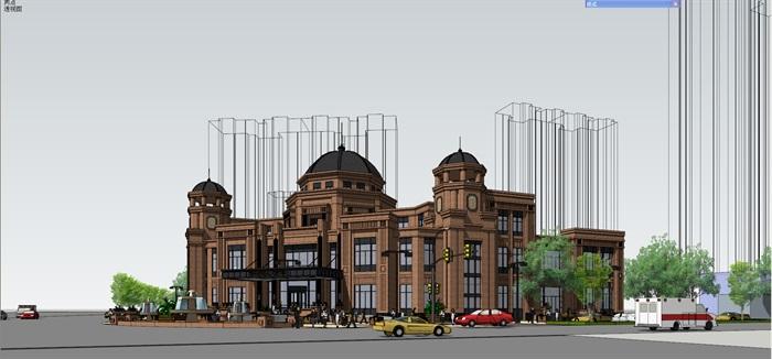 欧式风格会所兼售楼处建筑设计su模型
