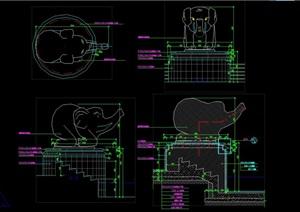 大象雕塑CAD施工图