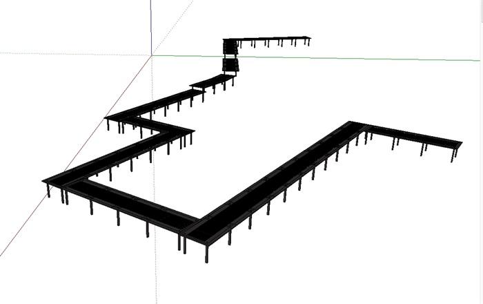 现代钢结构廊架设计su模型[原创]