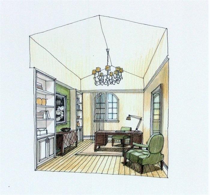 某现代风格详细住宅室内设计cad施工图附手绘图[原创]