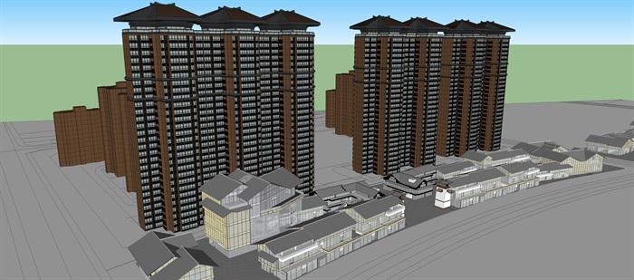 中式商业高层住宅楼设计su模型