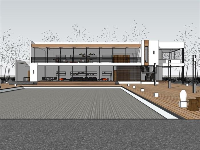 现代二层小别墅建筑及室内设计su模型