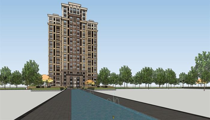 现代高层独栋居住楼建筑su细致模型