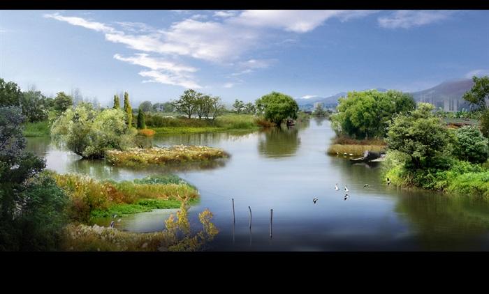 某河流湿地自然景观设计效果图PSD格式