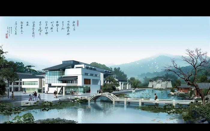 某中式旅游区徽派中式景观风格效果图psd格式[原创]图片