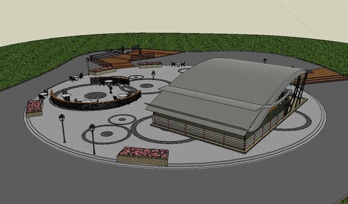 休闲滨水茶室及周围景观详细设计su模型[原创]