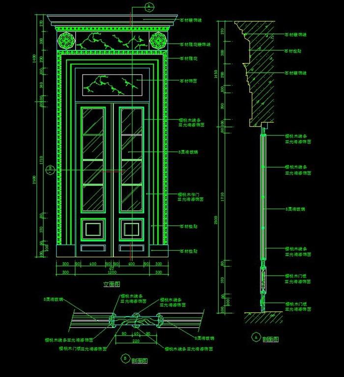 豪华装饰门大样图CAD施工图