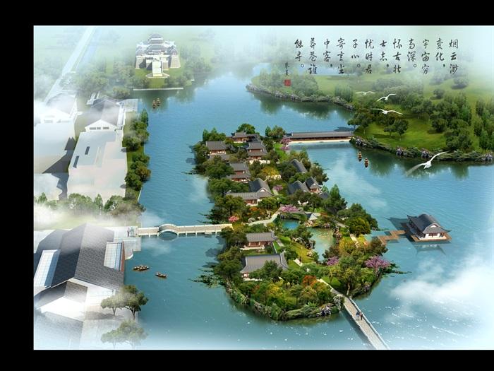 无锡市滨水中式风格旅游岛景区设计PSD鸟瞰图