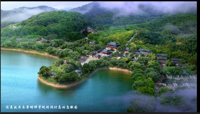 中式风格寺庙古建规划设计总体鸟瞰图PSD格式(2)