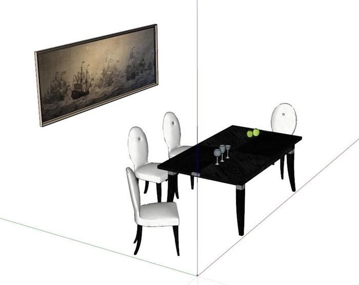 室内餐桌椅设计su模型