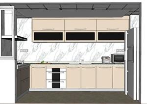 现代家装厨房设计SU(草图大师)细致模型