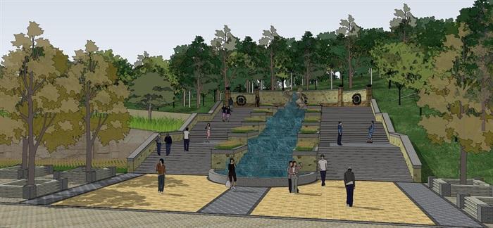 某古典中式公园景观su模型