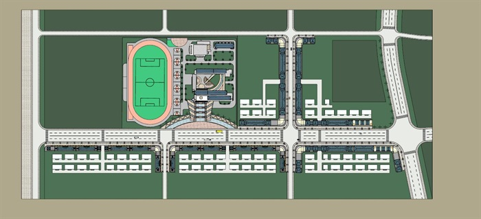 现代风格商业街区及校园建筑规划设计su模型