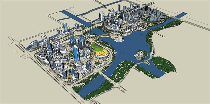某滨水详城市规划设计su模型