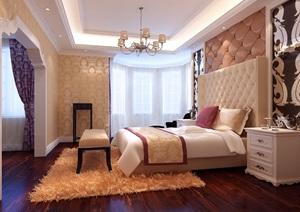 美式主卧空间设计3d模型及效果图