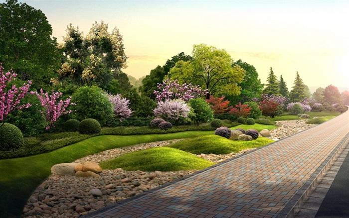 人行道旁绿地景区人行道旁绿地景观设计道路景观海绵城市海绵景观
