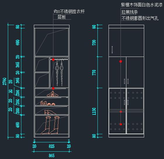 衣柜鞋柜书架立面图(4)