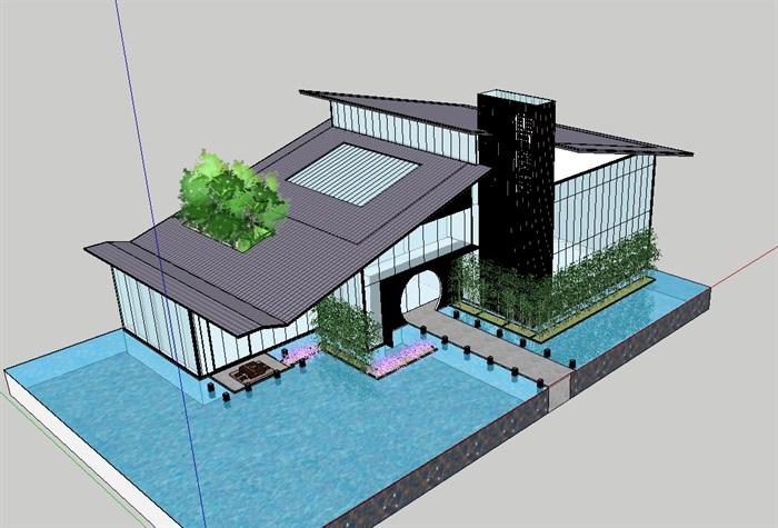 中式详细完整的售楼部su模型(1)