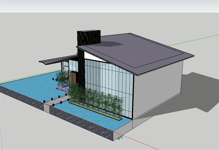 中式详细完整的售楼部su模型(2)