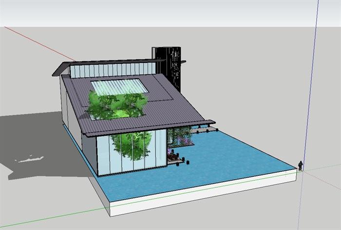 中式详细完整的售楼部su模型(3)