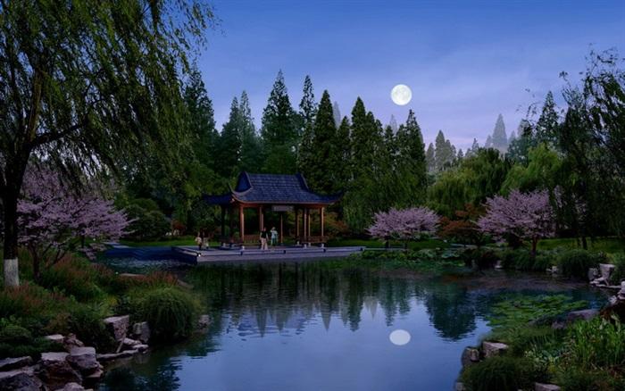 古典园林夜景效果图psd格式,可直接下载用于相关中式园林公园素材设计