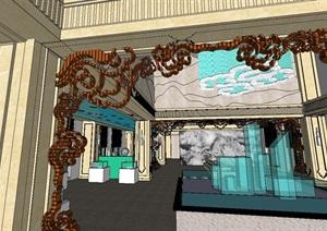 中式售楼中心室内空间SU(草图大师)模型