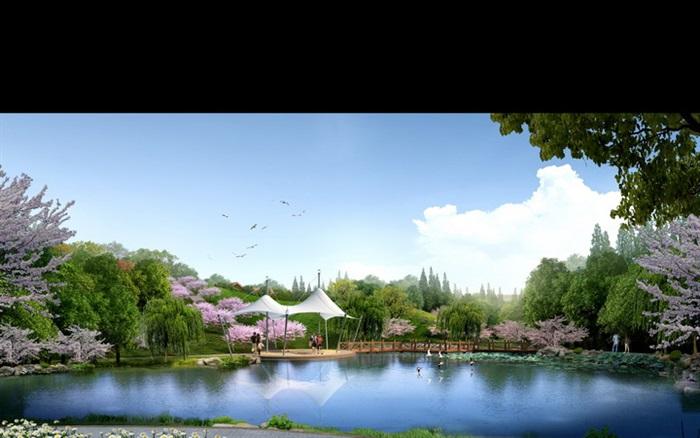 城市滨水公园荷塘景观设计效果图psd格式[原创]