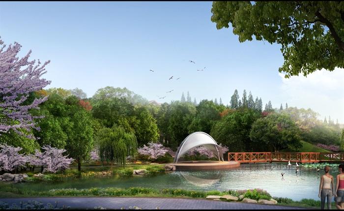 微地形滨水公园景观设计psd效果图[原创]