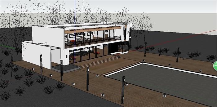 现代二层小别墅建筑及室内设计su模型(5)
