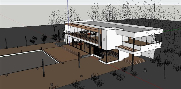 现代二层小别墅建筑及室内设计su模型(4)