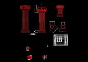 某欧式景观柱子设计cad施工图