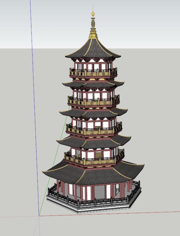 古典中式塔设计su模型[原创]