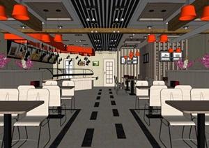 现代详细的餐饮餐厅空间设计SU(草图大师)模型