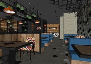 现代简餐空间装饰设计SU(草图大师)模型