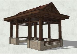 新中式景观古典景观亭SU(草图大师)模型