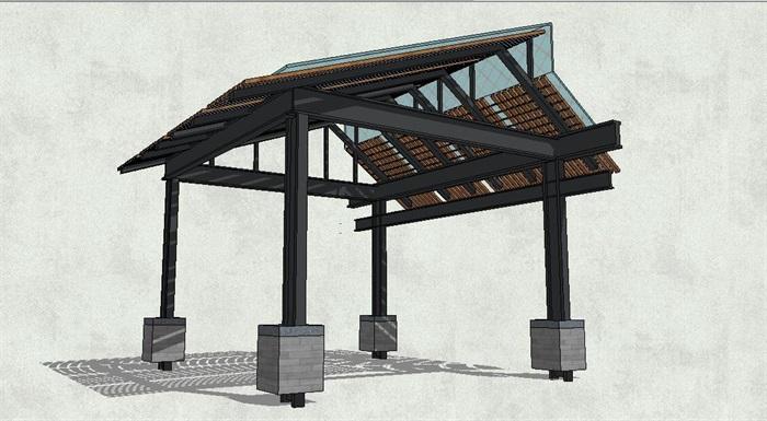 新中式四角坡屋顶亭子su模型[原创]