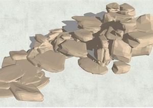 景石叠石素材SU(草图大师)模型