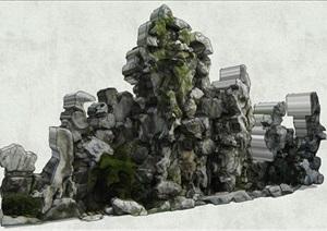 细致假山石景观叠石SU(草图大师)模型
