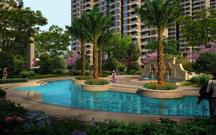 欧式住宅庭院景观设计效果图psd格式,可直接下载用于相关小区中庭景观