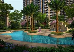 欧式住宅庭院景观设计效果图PSD格式