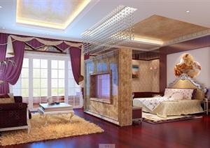 欧式详细完整的卧室空间3d模型