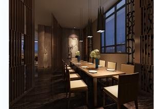 现代室内餐厅空间装饰3d模型