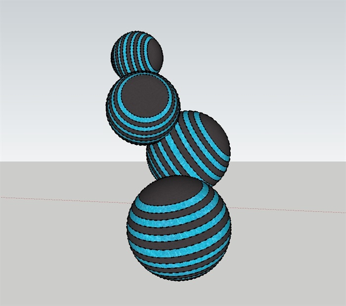 园林小品球形雕塑设计su模型[原创]