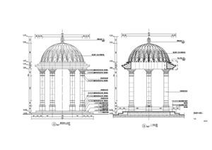 欧式精美景观亭设计施工图