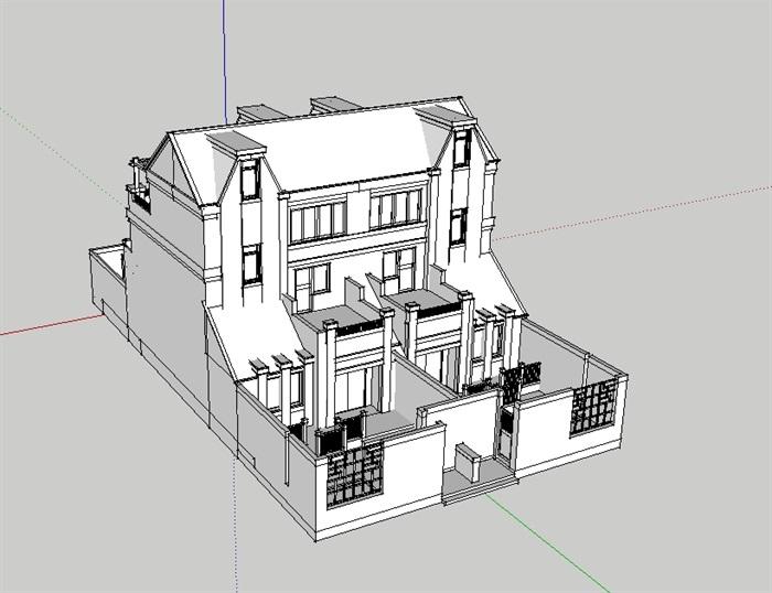 模型人家别墅双拼v模型su山水[原创]如何别墅嘉年上海图片