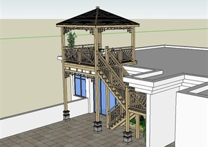 某建筑防腐木楼梯设计SU(草图大师)模型