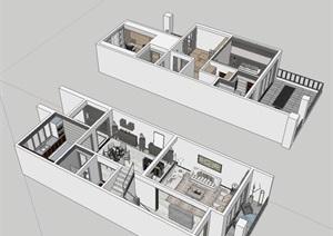 二层别墅室内空间设计SU(草图大师)模型