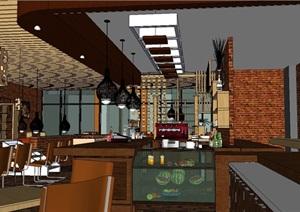 咖啡厅室内室外整体SU(草图大师)模型