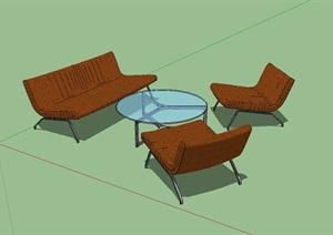 现代办公室内沙发茶几SU(草图大师)模型